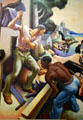Detail of logging on Social History of Missouri mural by Thomas Hart Benton at Missouri State Capitol. Jefferson City, MO.