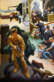 Detail of frontiersman hunting with dogs with politicians beyond on Social History of Missouri mural by Thomas Hart Benton at Missouri State Capitol. Jefferson City, MO.