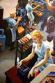 Detail of woman at typewriter on Social History of Missouri mural by Thomas Hart Benton at Missouri State Capitol. Jefferson City, MO.