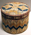 Micmac porcupine quill lidded box from Nova Scotia or New Brunswick at Nelson-Atkins Museum. Kansas City, MO.