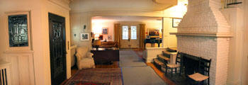 Panorama of living room of Thomas Hart Benton Home. Kansas City, MO.