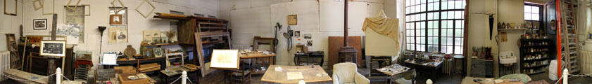 Panorama of Thomas Hart Benton's Studio as it was at the time of his death at his State Historic Site. Kansas City, MO.