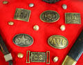 Confederate buttons & belt buckles in Jefferson Davis presidential library at Beauvoir. Biloxi, MS.