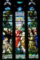 Christ gives Peter keys to Kingdom stained glass window of Cathedral of Saint Helena. Helena, MT.