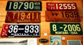 Montana license plates at Montana Historical Society museum. MT.