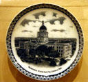 Plate with Second Nebraska State Capitol now replaced by the third highrise capitol at Museum of Nebraska History. Lincoln, NE.
