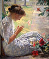Mercie Cutting Flowers painting by Edmund Charles Tarbell of NH at Currier Museum of Art. Manchester, NH.