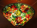Stained glass lamp shade by Louis Comfort Tiffany of New York City at Currier Museum of Art. Manchester, NH.