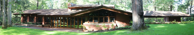 Panorama of Zimmerman House by Frank Lloyd Wright. Manchester, NH.