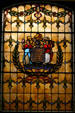 Stained glass state seal in New Jersey Capitol. Trenton, NJ.