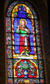 St. James the Greater stained glass window in St. Francis Cathedral. Santa Fe, NM.