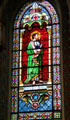 St. Bartholomew stained glass window in St. Francis Cathedral. Santa Fe, NM.