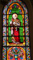 St. Peter stained glass window in St. Francis Cathedral. Santa Fe, NM.