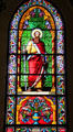 St. Paul stained glass window in St. Francis Cathedral. Santa Fe, NM.