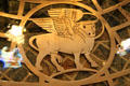 Winged bull of Evangelist St. Luke in font of St. Francis Cathedral. Santa Fe, NM.