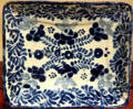 Majolica rectangular blue-on-white tray probably made locally in New Mexico at New Mexico History Museum. Santa Fe, NM.