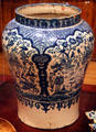 Majolica Puebla blue-on-white tibor at New Mexico History Museum. Santa Fe, NM.