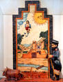 Santos de Nuevo Mexico painting with carving of San Ysidro, patron saint of farming, by Charlie Carrillo in NM State Capitol Art Collection. Santa Fe, NM.