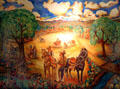 Plaza of Santa Fe in1800s fresco painting by Frederico M. Vigil in NM State Capitol Art Collection. Santa Fe, NM.
