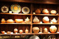 Indian baskets & pottery in shop at Wheelwright Museum of the American Indian. Santa Fe, NM.
