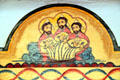 Holy Trinity by Charlie Carillo on Reredos in Golondrinas Chapel at Rancho de las Golondrinas. Santa Fe, NM.