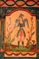 St. Michael Archangel by Eduardo Sánchez on Reredos in Golondrinas Chapel at Rancho de las Golondrinas. Santa Fe, NM.