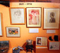 Mary Greene Blumenschein biography display at Blumenschein Home & Museum. Taos, NM.