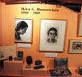 Helen Greene Blumenschein biography display at Blumenschein Home & Museum. Taos, NM.