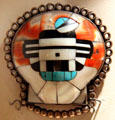 Zuni mosaic kachina pendant at Millicent Rogers Museum. Taos, NM