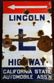 Lincoln Highway sign at old Nevada State Capitol museum. Carson City, NV.