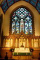 Altar & stained glass window in Saint Paul's Episcopal Cathedral. Buffalo, NY.