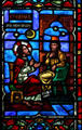 Stained glass of the counsel of Nicodemus in Westminster Presbyterian Church. Buffalo, NY.