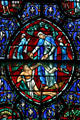 Stained glass of New Testament story in Westminster Presbyterian Church. Buffalo, NY.