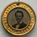 "Abraham Lincoln campaign medal with tintype & ""Free Soil & Free Men"" slogan at Buffalo History Museum. Buffalo, NY."