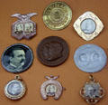 Various Grover Cleveland campaign medals at Buffalo History Museum. Buffalo, NY.