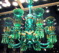 English green chandelier by F&C Osler of Birmingham at Corning Museum of Glass. Corning, NY.