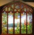 Stained glass window by Louis Comfort Tiffany from Rochroane Castle, Irvington-on-Hudson, NY at Corning Museum of Glass. Corning, NY.