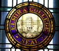 Elmira College seal in stained glass in Hamilton Hall. Elmira, NY.