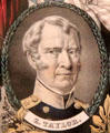 Zachary Taylor portrait on Whig election poster by N. Currier at Millard Fillmore House. East Aurora, NY.