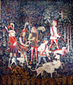 Hunters Enter the Woods from the Unicorn Tapestry series made in The Lowlands at The Cloisters. New York, NY.