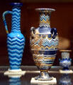 Glass vessels from Egypt during reign of Akhenaton at Metropolitan Museum of Art. New York, NY