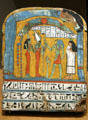 Painted wooden funerary stela from Egypt late 3rd intermediate period at Metropolitan Museum of Art. New York, NY.