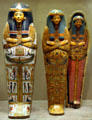 Collection of ancient Egyptian painted coffins at Metropolitan Museum of Art. New York, NY.