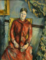 Mme. Cézanne in Red Dress portrait by Paul Cézanne at Metropolitan Museum of Art. New York, NY.