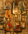 Violin & Grapes painting in cubist style by Pablo Picasso at MoMA. New York, NY.