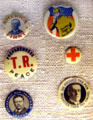 Presidential campaign buttons from 1912 election at Theodore Roosevelt Birthplace. New York, NY.