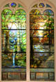 Dawn in Springtime Woods & Sunset in Autumn Woods stained glass windows by Louis Comfort Tiffany Studios at Brooklyn Museum. Brooklyn, NY.
