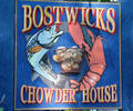 Fish & lobster sign at Bostwicks Chowder House. East Hampton, NY.