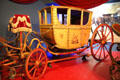 Berlin coach from Prussia was one of first vehicles to hang body from leaf springs at carriage collection of Long Island Museum. Stony Brook, NY.