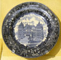 Wedgwood American View commemorative plate with New York State Capitol building which Governor Theodore Roosevelt declared done & stopped construction at Old Orchard Museum at Sagamore Hill NHS. Cove Neck, NY.